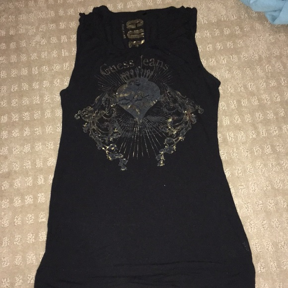 Guess Tops - Black, Guess Jeans muscle tee